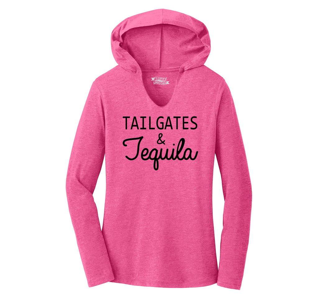 Tailgates and Tequila Ladies Tri-Blend Hooded Tee