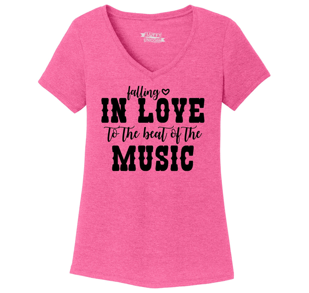 Falling In Love To The Beat Of The Music Ladies Tri-Blend V-Neck Tee Shirt