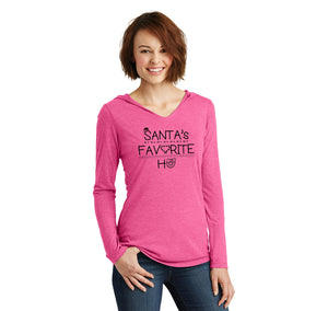 Santa's Favorite Ho Ladies Tri-Blend Hooded Tee