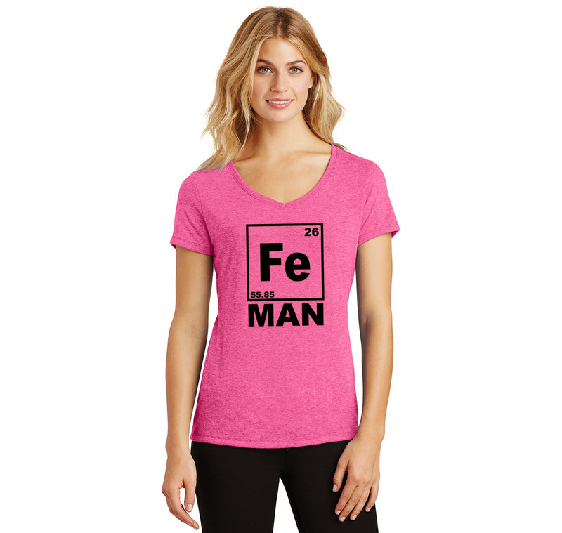 Fe Man Ladies Tri-Blend V-Neck Tee Shirt