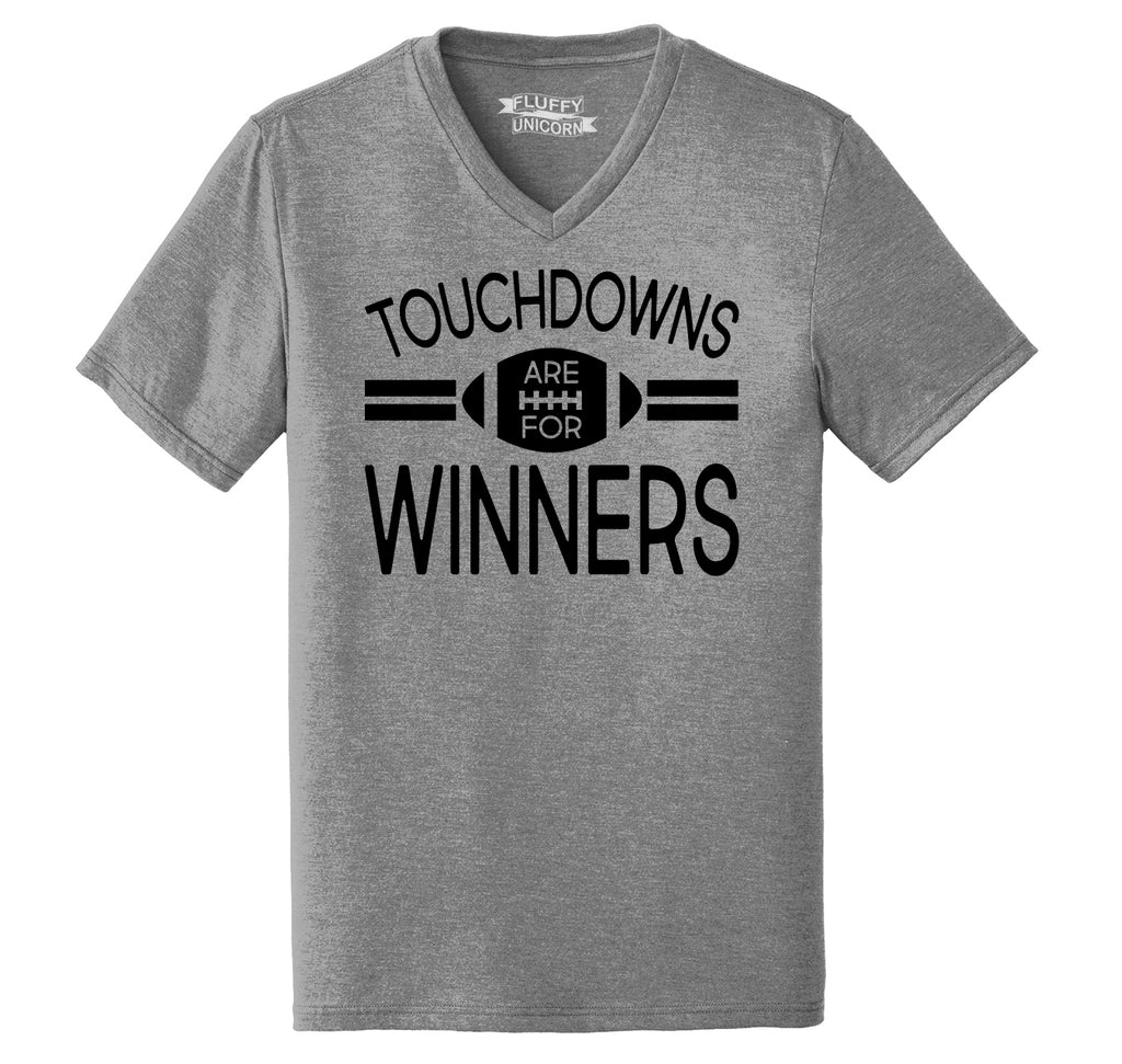 Touchdowns Are For Winners Football Sports Tee Mens Tri-Blend V-Neck Tee Shirt
