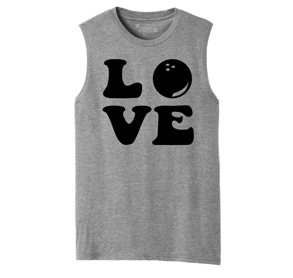 Love Bowling Big Print Mens Muscle Tank Muscle Tee