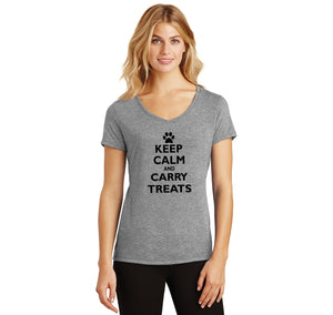 Keep Calm and Carry Treats Ladies Tri-Blend V-Neck Tee Shirt