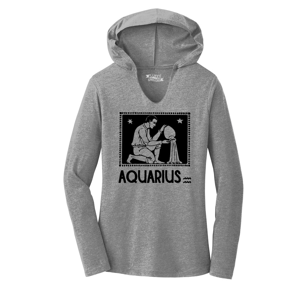 Horoscope Aquarius Tee Ladies Tri-Blend Hooded Tee
