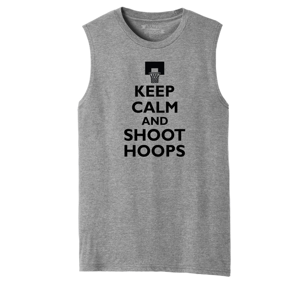 Keep Calm And Shoot Hoops T Shirt Basketball Sport Gift Tee Mens Muscle Tank Muscle Tee
