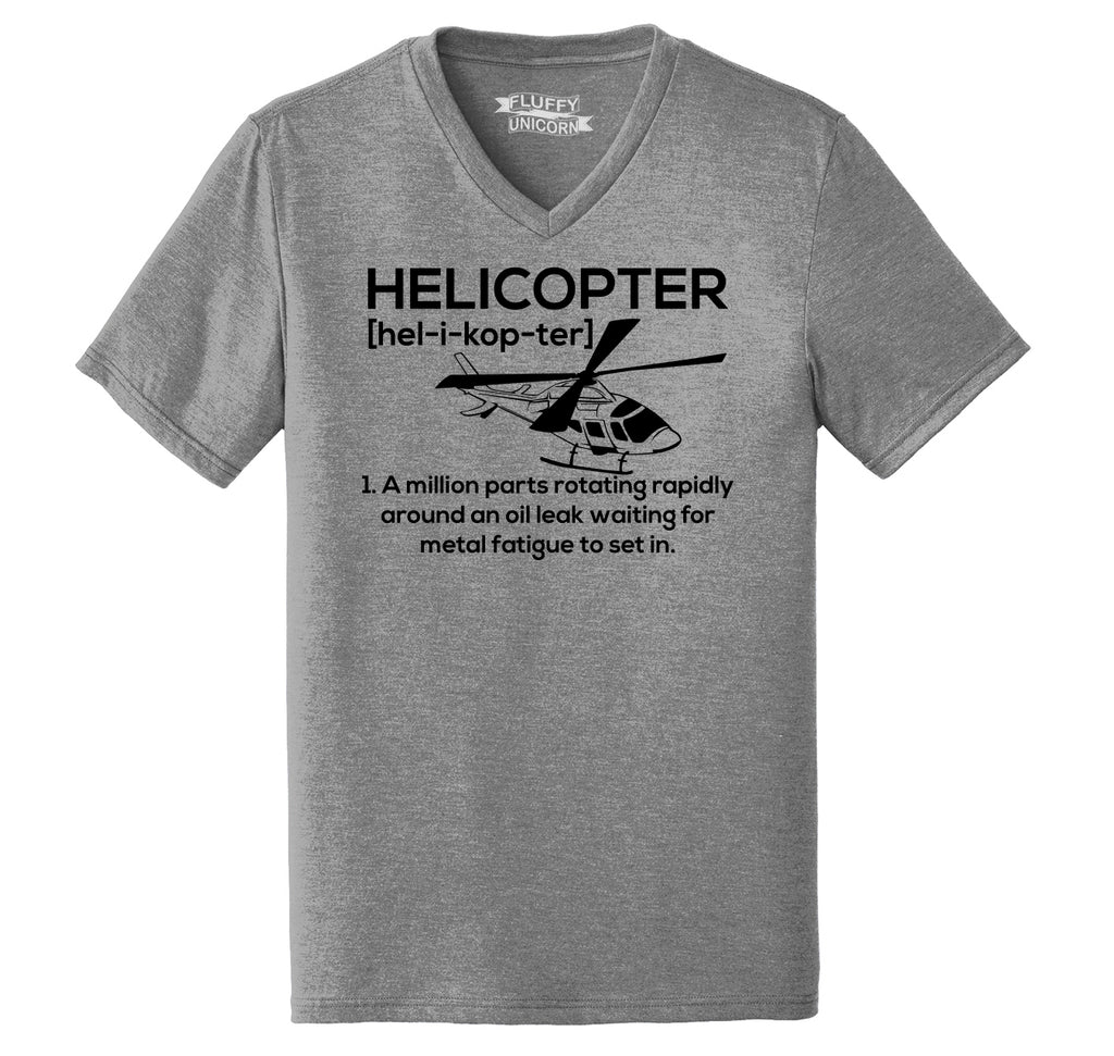 Funny Helicopter Pilot Gift Tee Mens Tri-Blend V-Neck Tee Shirt