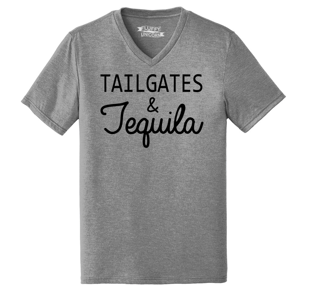 Tailgates and Tequila Mens Tri-Blend V-Neck Tee Shirt