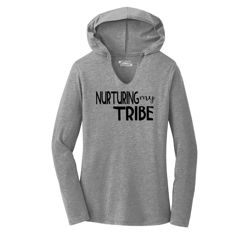 Nurturing My Tribe Ladies Tri-Blend Hooded Tee