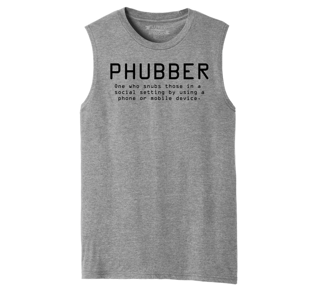Phubber Snubs in Social Setting on Phone Funny Tee Technology Humor Shirt Mens Muscle Tank Muscle Tee