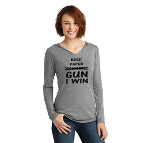 Rock Paper Scissors GUN I win  Ladies Tri-Blend Hooded Tee
