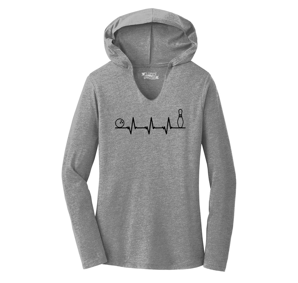 Bowling Heartbeat Ladies Tri-Blend Hooded Tee