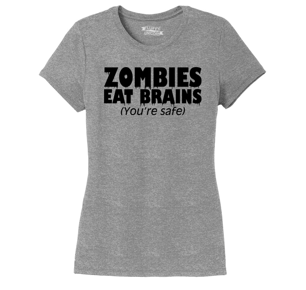 Zombies Eat Brains You're Safe Funny T Shirt Halloween Party Tee Ladies Short Sleeve Tri-Blend Shirt