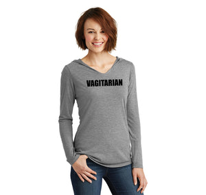 Vagitarian Ladies Tri-Blend Hooded Tee