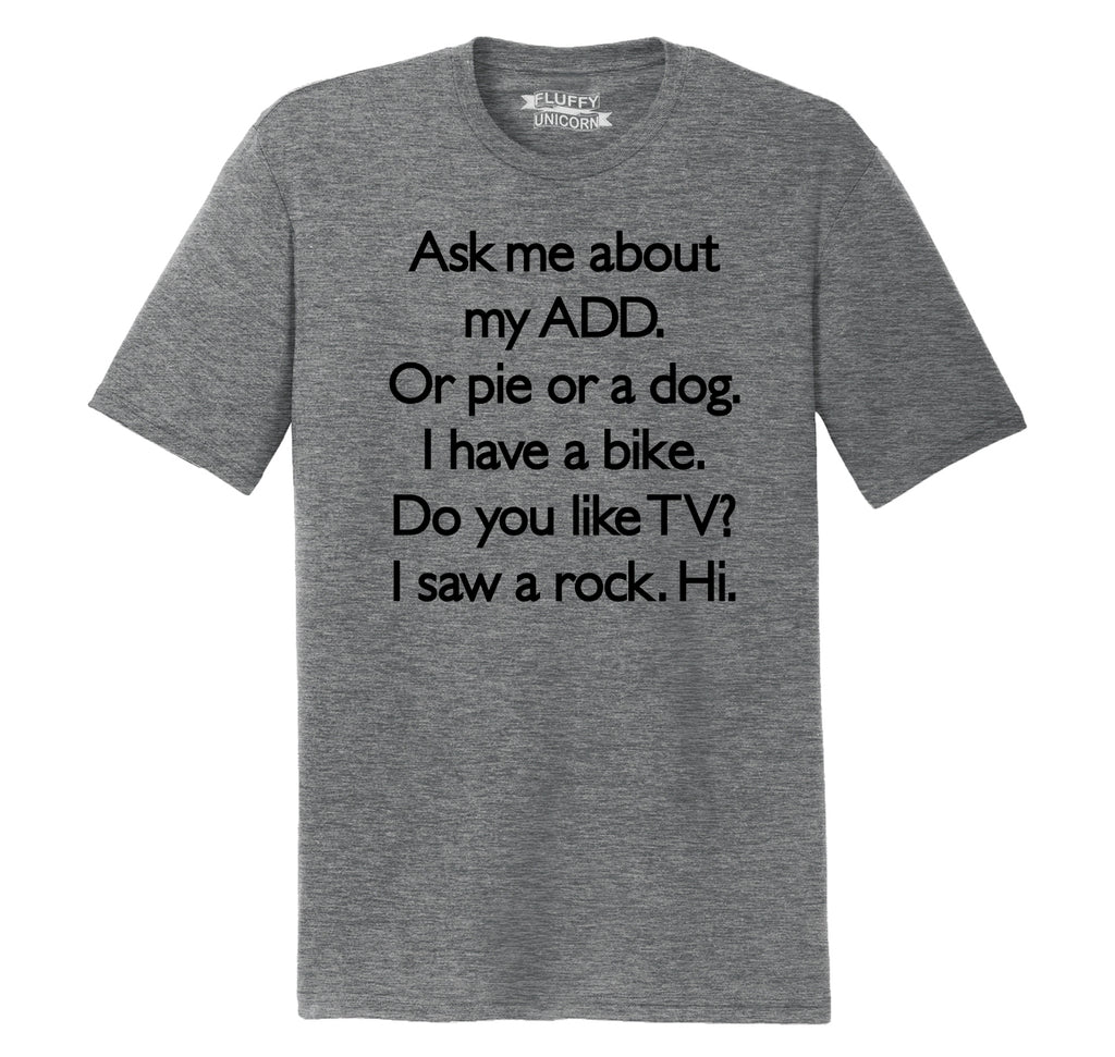 Ask Me About My ADD Dog Rock TV Hi Mens Short Sleeve Tri-Blend Shirt