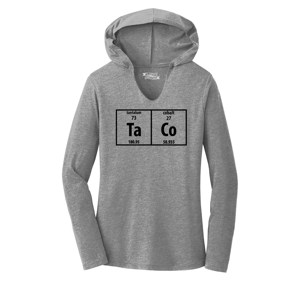 Taco Periodic Table Funny Science Shirt Geek Nerd College Ladies Tri-Blend Hooded Tee