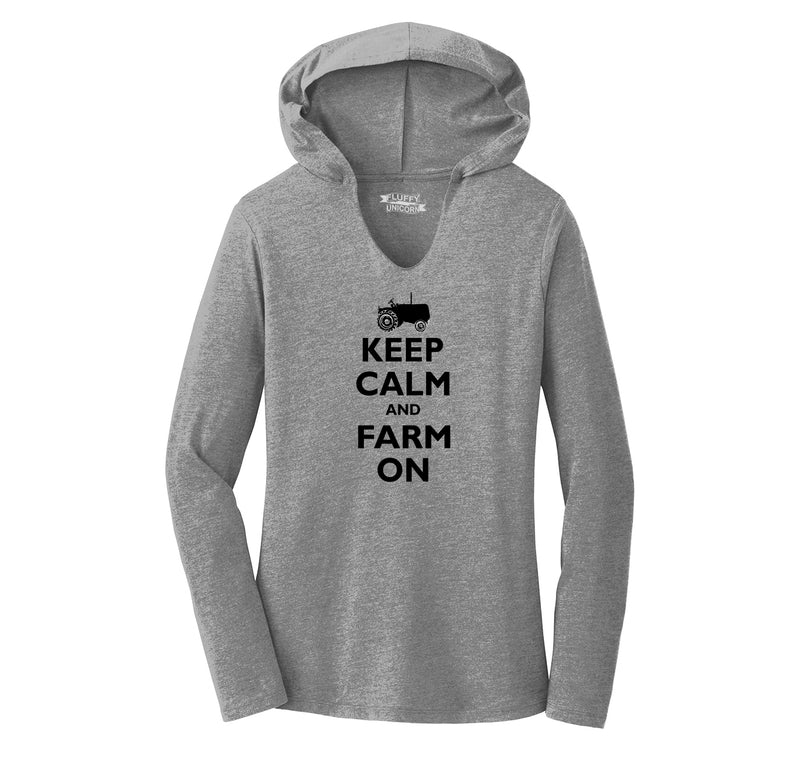 Keep Calm and Farm On Ladies Tri-Blend Hooded Tee