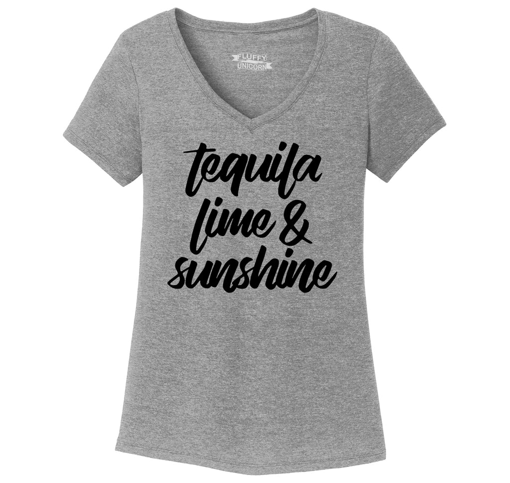 Tequila Lime and Sunshine Ladies Tri-Blend V-Neck Tee Shirt