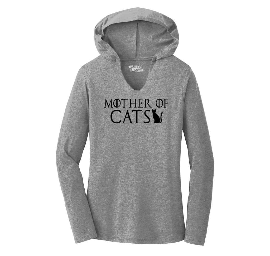 Mother Of Cats Ladies Tri-Blend Hooded Tee
