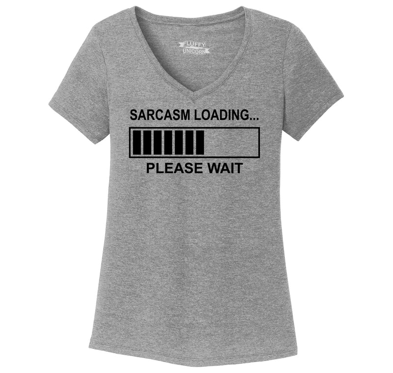 Sarcasm Loading Ladies Tri-Blend V-Neck Tee Shirt