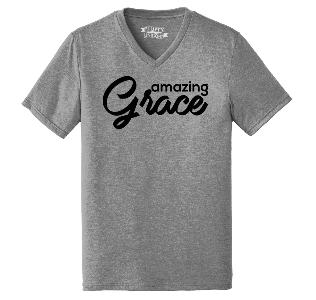 Amazing Grace Mens Tri-Blend V-Neck Tee Shirt