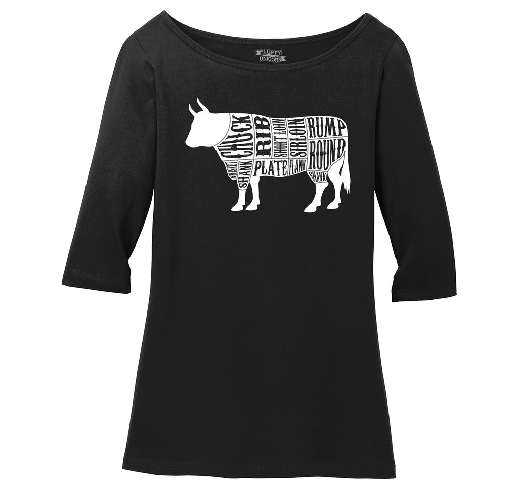 Bull Meat Lover Ladies Wide Neck 3/4 Sleeve Tee