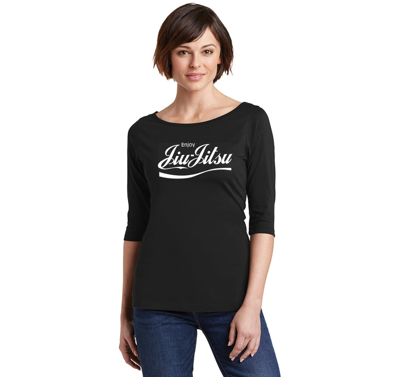 Enjoy Jiu Jitsu Parody Ladies Wide Neck 3/4 Sleeve Tee