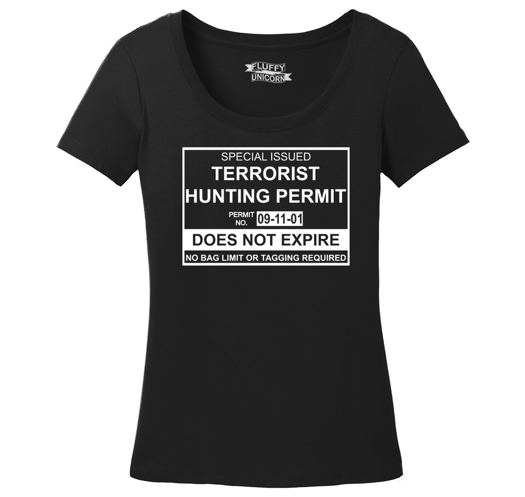 Terrorist Hunting Permit No Bagging Or Limit Funny Anti Islam Shirt Ladies Scoop Neck Tee