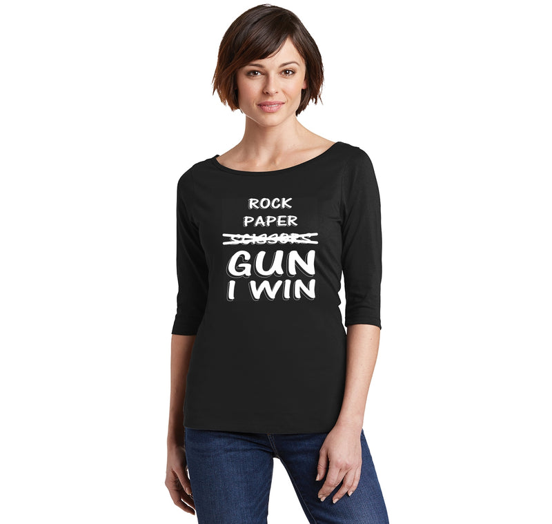 Rock Paper Scissors GUN I win  Ladies Wide Neck 3/4 Sleeve Tee