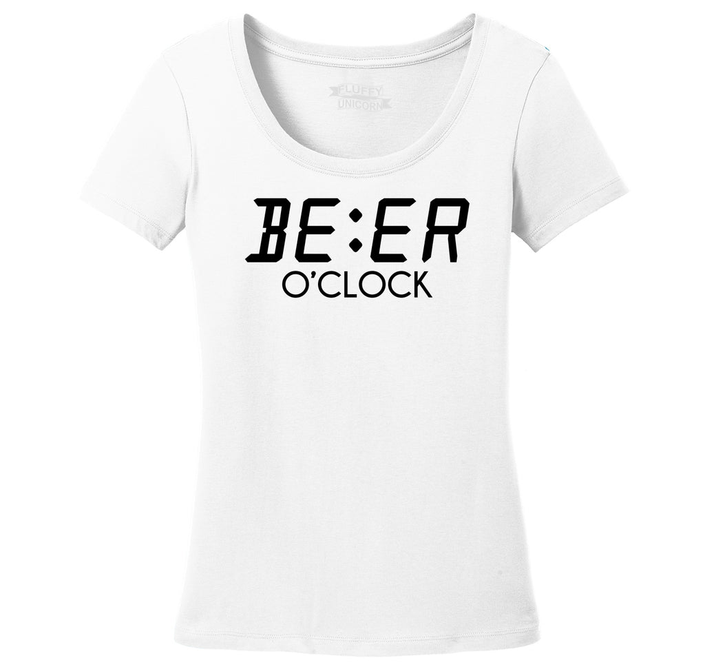Beer O'Clock Funny Alcohol St Patty's Party Bar Tee Ladies Scoop Neck Tee