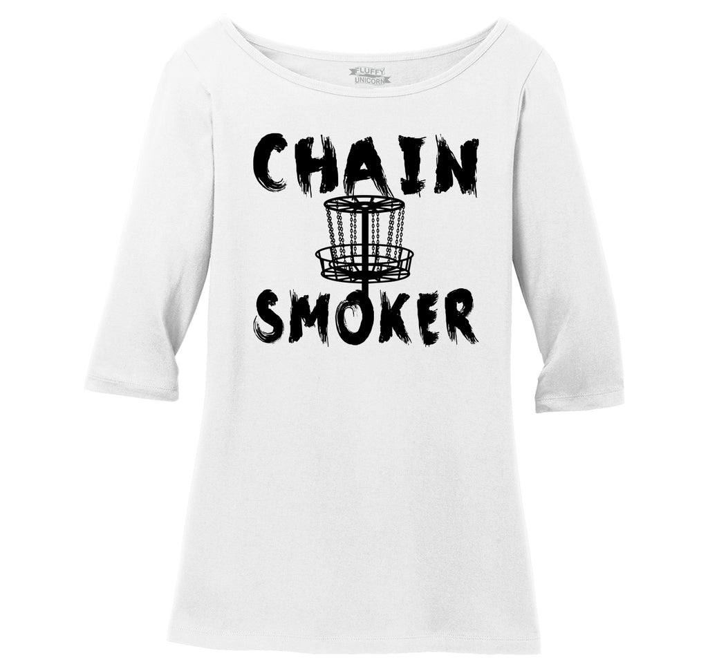 Chain Smoker Ladies Wide Neck 3/4 Sleeve Tee