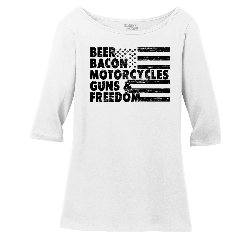 Beer Bacon Motorcycles Guns & Freedom Tee Gun Rights American Pride Biker Shirt Ladies Wide Neck 3/4 Sleeve Tee