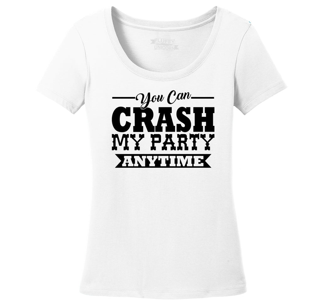 cbda4c1cfff5be Crash My Party Anytime Shirt Country Song Concert Music Tee Ladies Scoop  Neck Tee