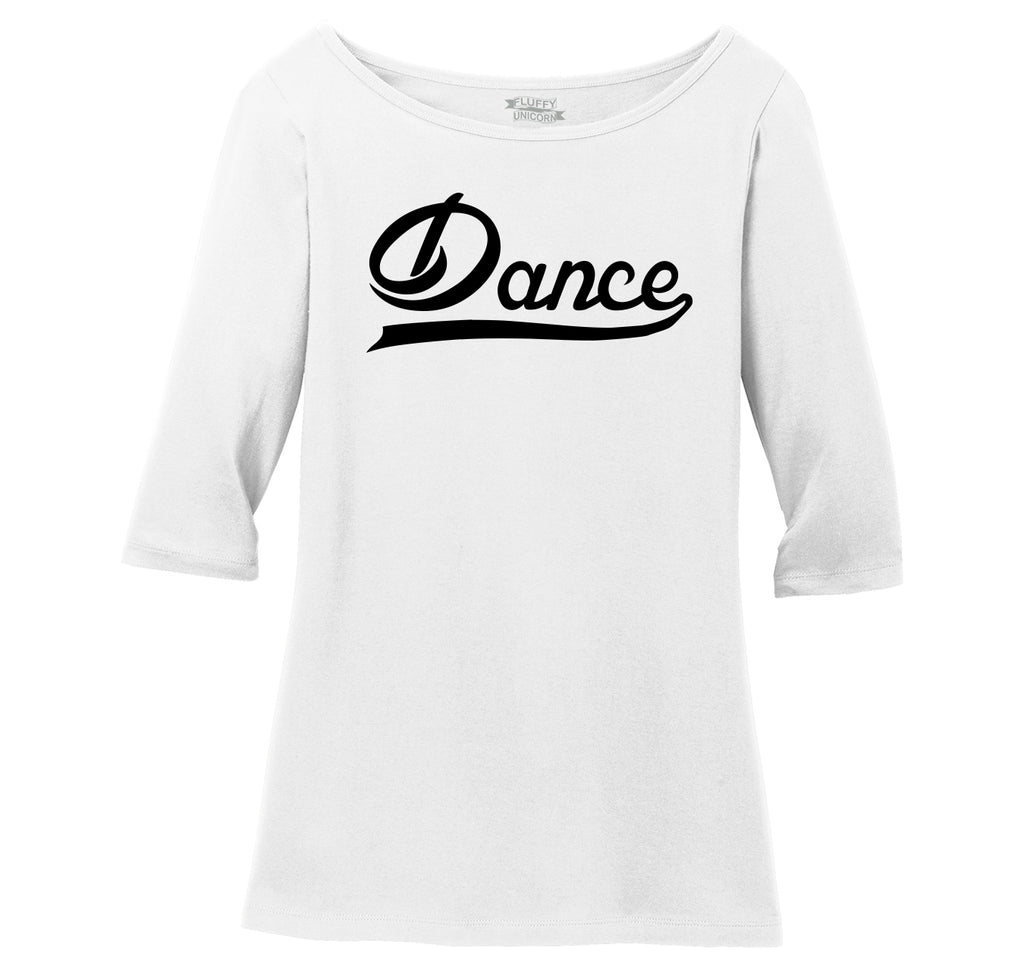 Dance Ladies Wide Neck 3/4 Sleeve Tee
