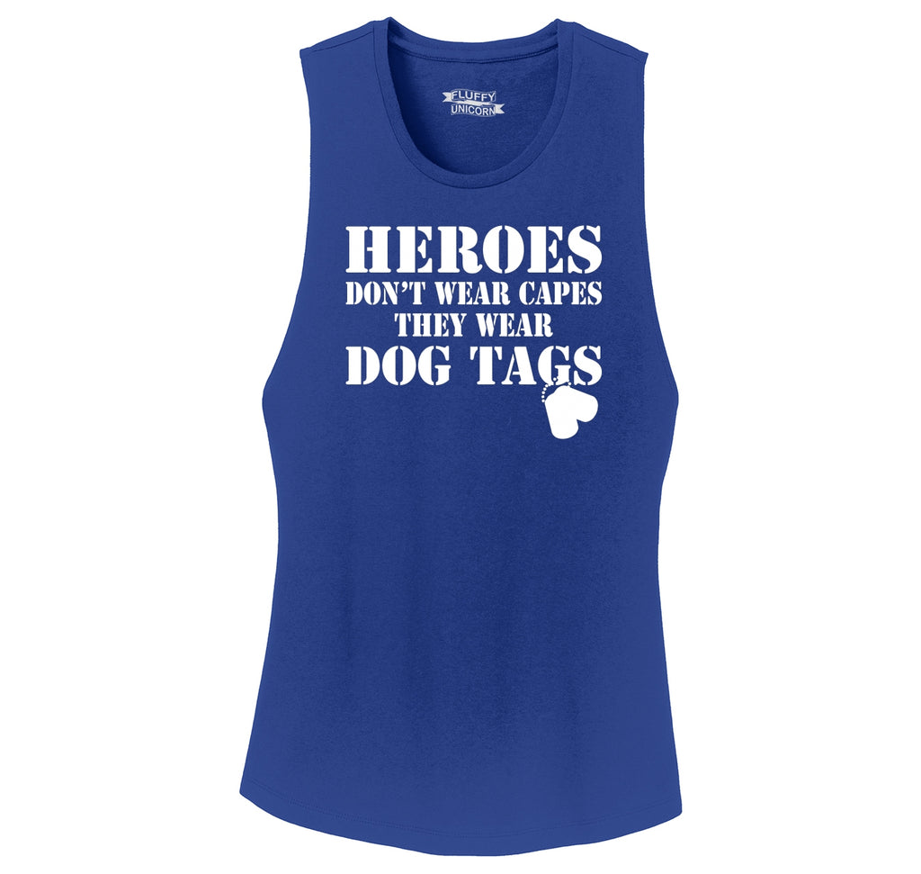 Heroes Don't Wear Capes Dog Tags Ladies Festival Tank Top