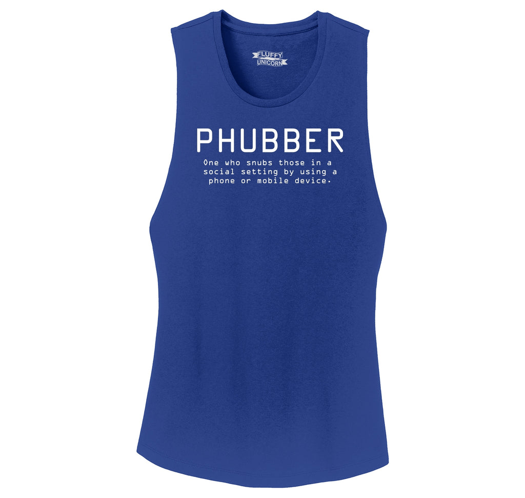 Phubber Snubs in Social Setting on Phone Funny Tee Technology Humor Shirt Ladies Festival Tank Top