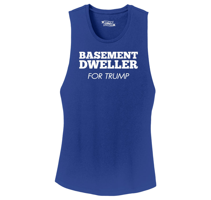 Basement Dweller For Trump Tee Anti Hillary Clinton Bernie Sanders Ladies Festival Tank Top