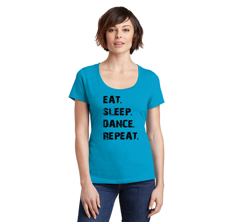 Eat Sleep Dance Repeat Ladies Scoop Neck Tee