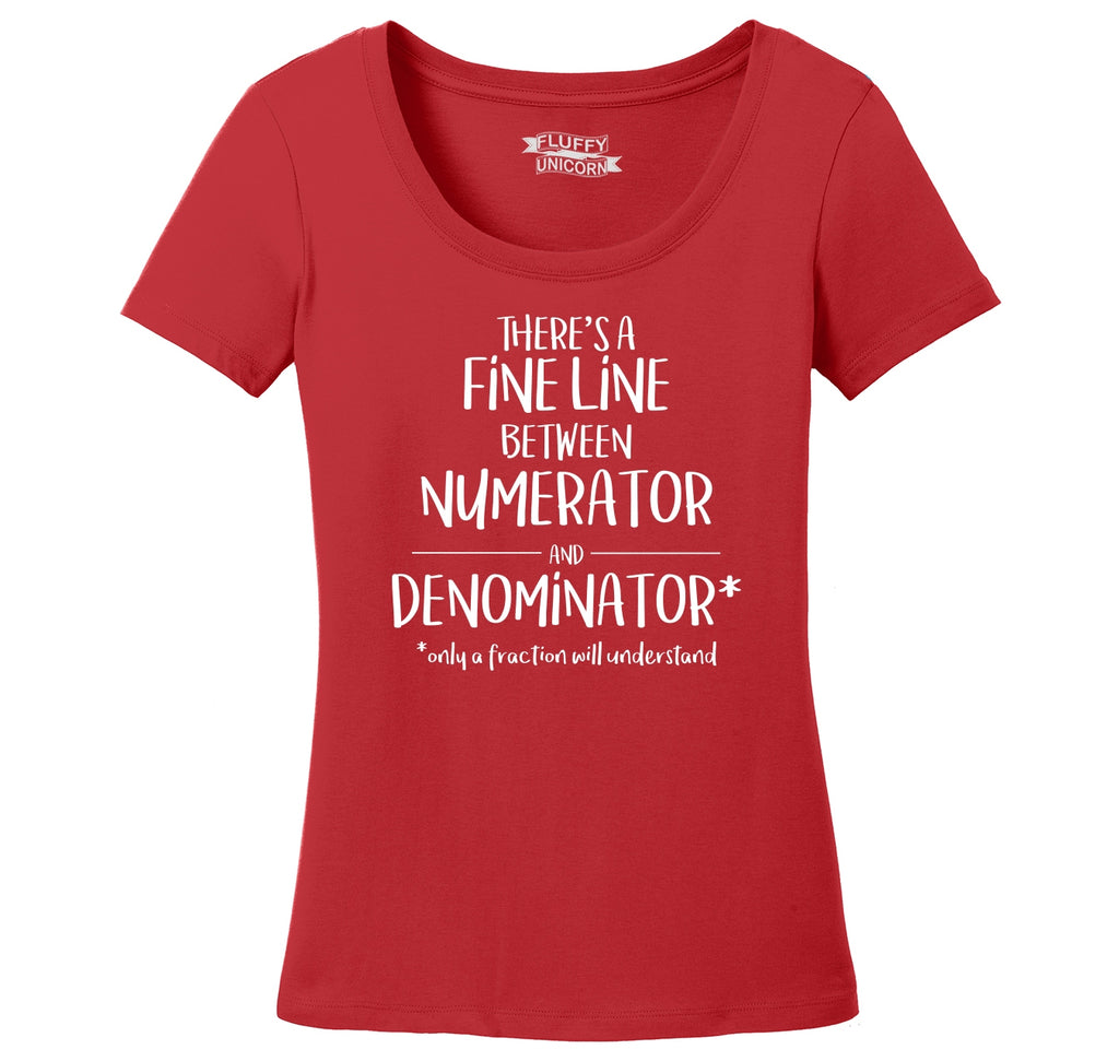 Fine Line Numerator Denominator Ladies Scoop Neck Tee