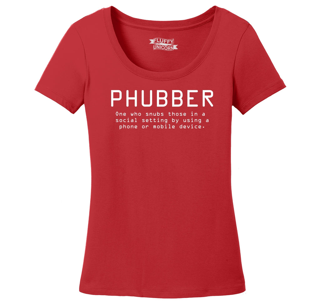 Phubber Snubs in Social Setting on Phone Funny Tee Technology Humor Shirt Ladies Scoop Neck Tee