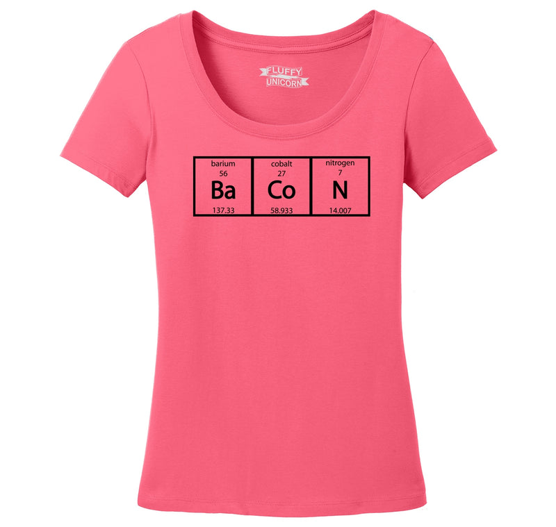 Bacon Periodic Table Ladies Scoop Neck Tee