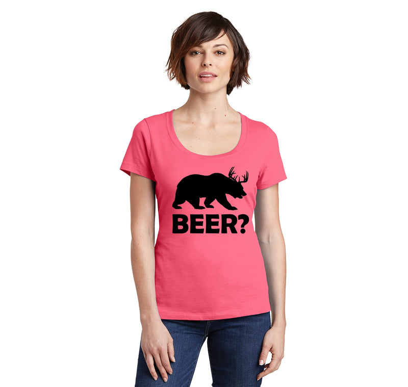 Bear Deer Beer Ladies Scoop Neck Tee