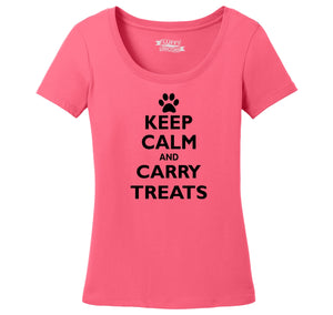 Keep Calm and Carry Treats Ladies Scoop Neck Tee