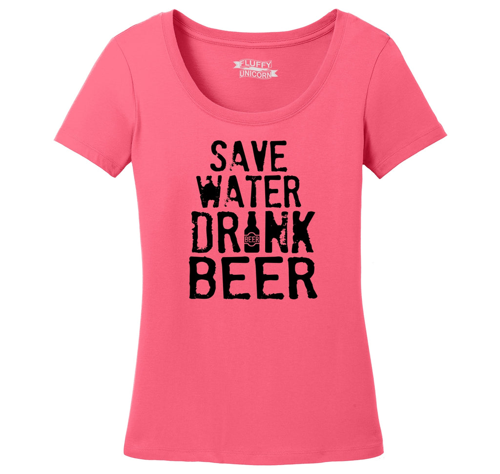 Save Water Drink Beer Ladies Scoop Neck Tee