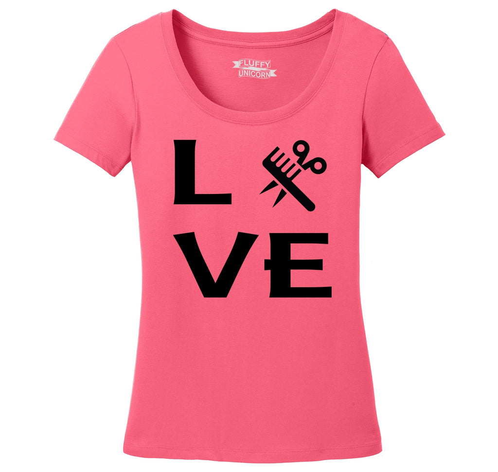 Love Hairstylist Cute Barber Gift Tee Ladies Scoop Neck Tee