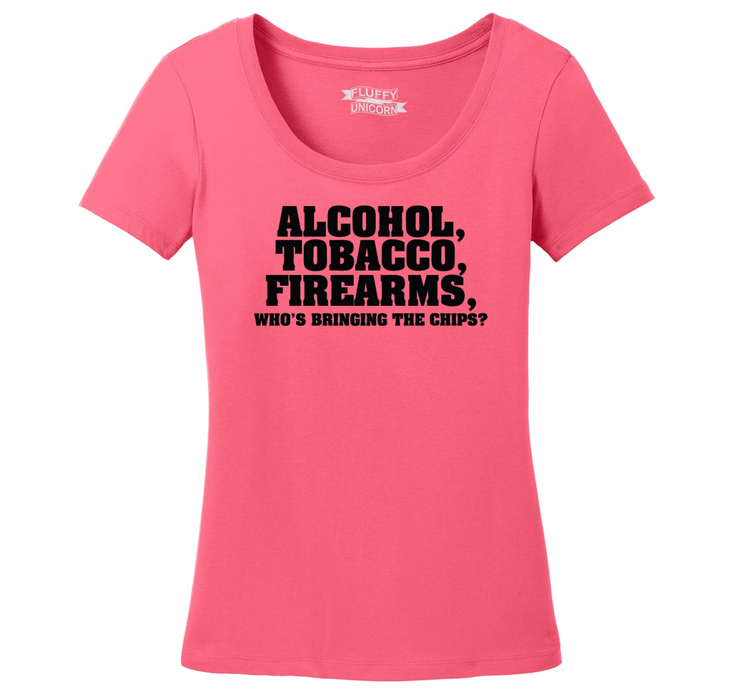 Alcohol Tobacco Firearms Ladies Scoop Neck Tee