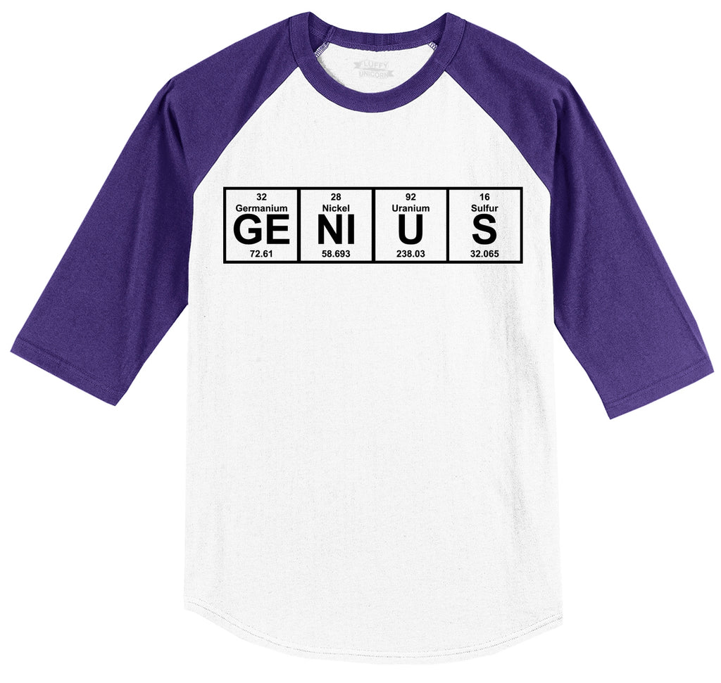 Genius Periodic Table, Funny Science Geek Shirt Mens 3/4 Sleeve Raglan Jersey