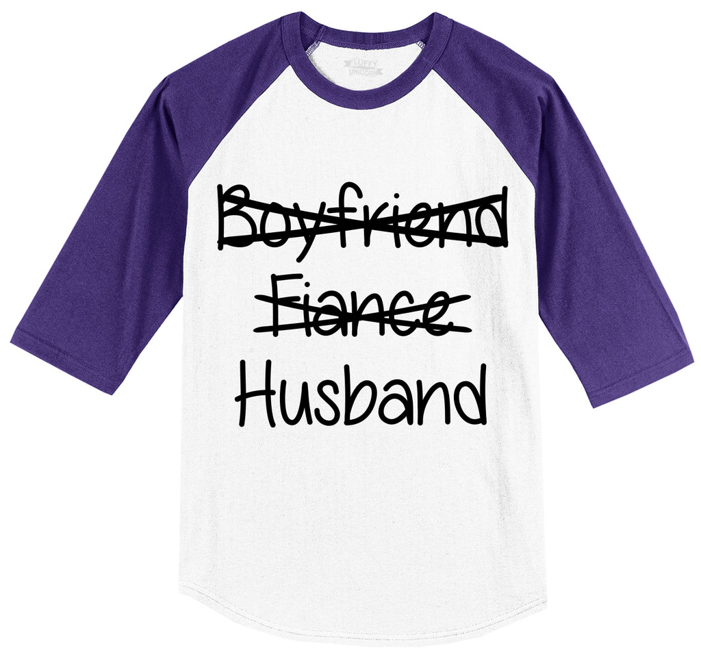 Boyfriend Fiance Crossed Out HUSBAND Mens 3/4 Sleeve Raglan Jersey