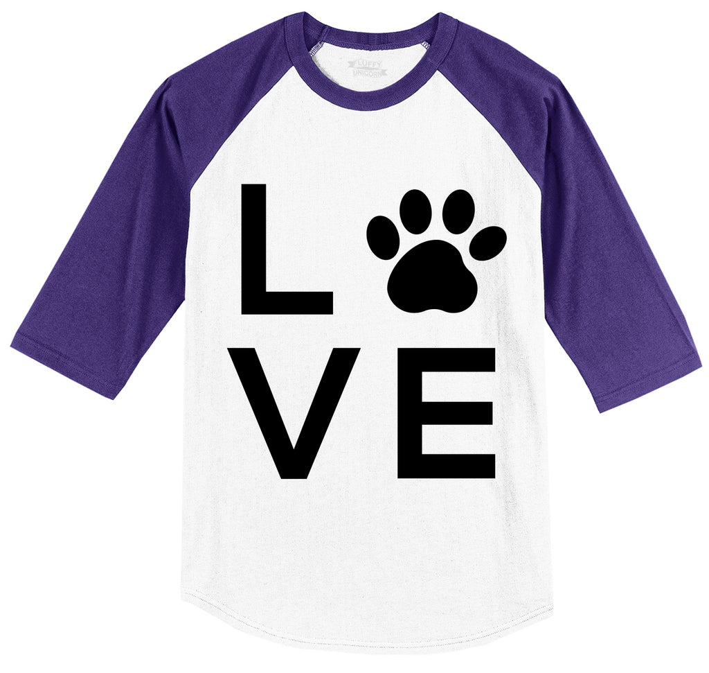 Love Dog Big Graphic Mens 3/4 Sleeve Raglan Jersey