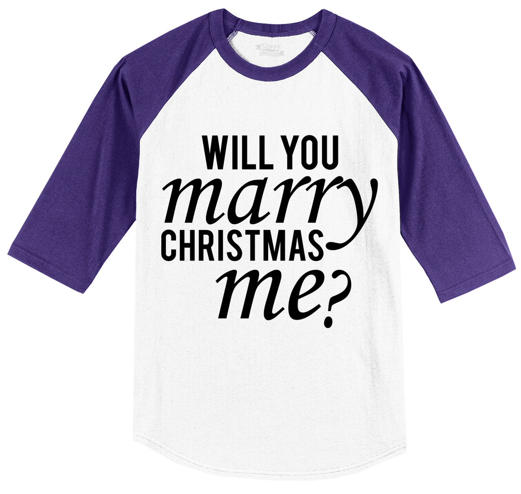 Will You Marry Christmas Me Mens 3/4 Sleeve Raglan Jersey