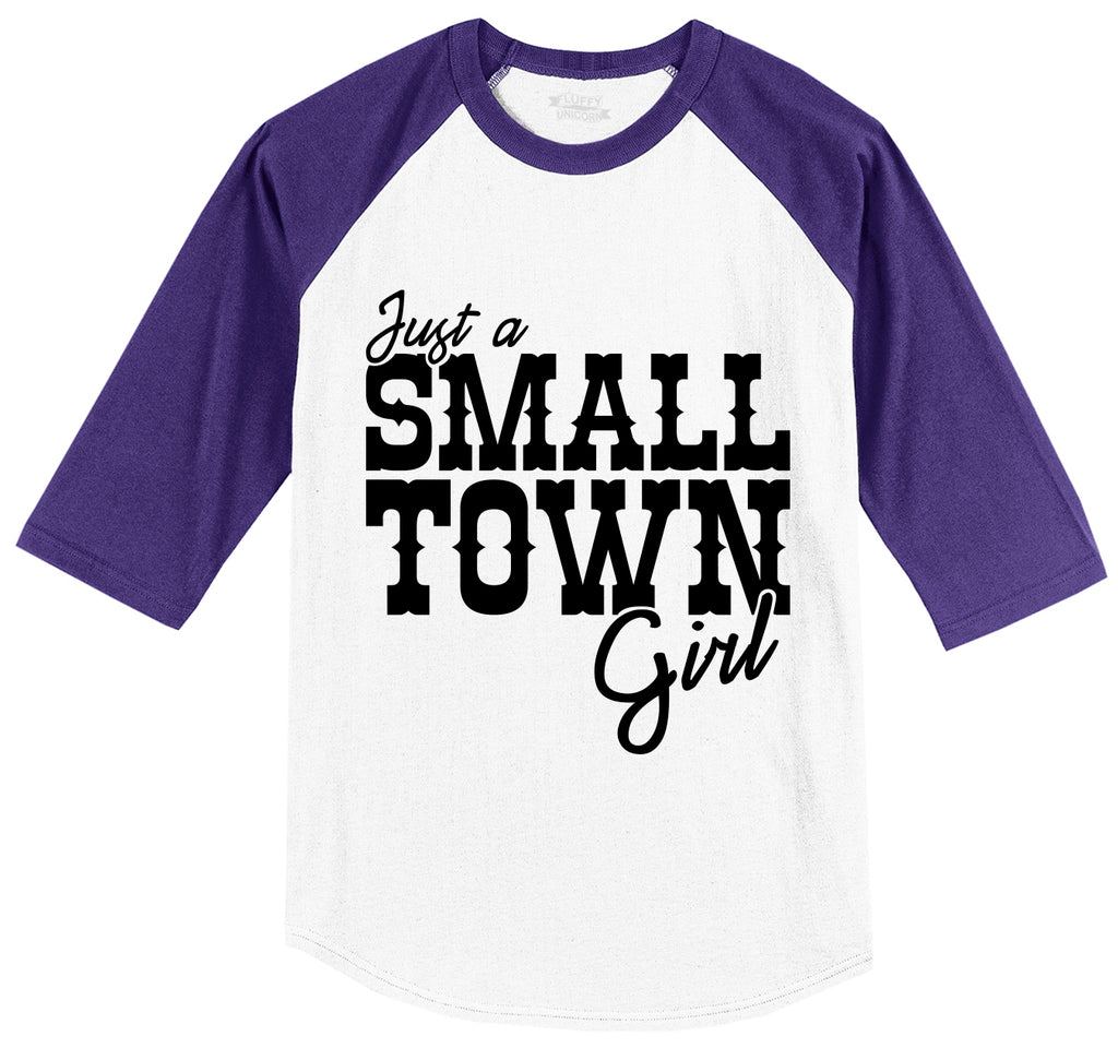 Just A Small Town Girl Cute Country Tee Mens 3/4 Sleeve Raglan Jersey